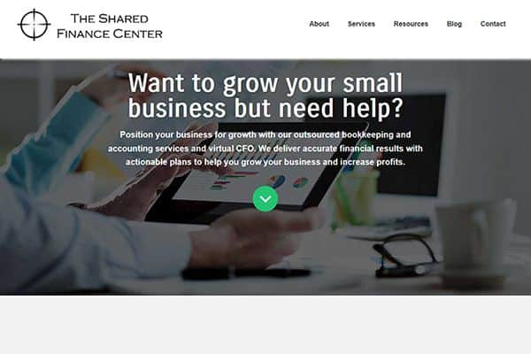 The Shared Finance Center web design project
